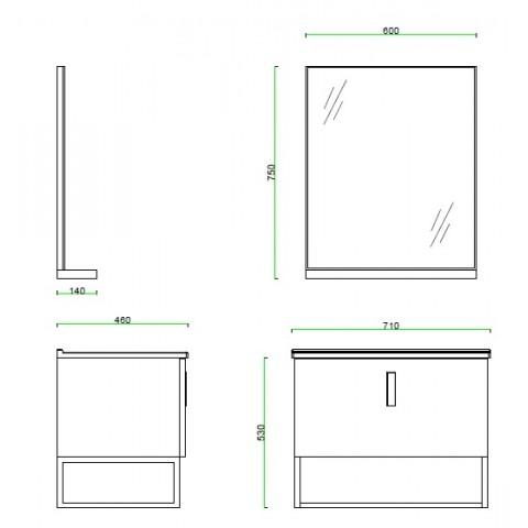 Becker 710mm Stainless Steel Bathroom, Bathroom Vanity Dimensions