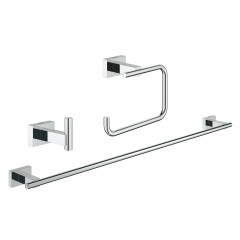 Grohe Essentials Cube Guest Bathroom Accessories Set 3-in-1 Chrome