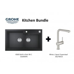 Grohe Composite Granite Sink K500 Built In 90-C With Minta L-Spout Supersteel Kitchen Sink Mixer Tap