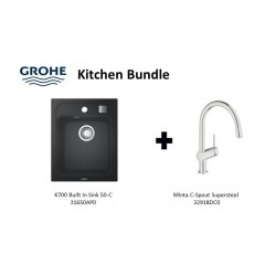 Grohe Composite Granite Sink K700 Built In 50-C With Minta C-Spout Supersteel Kitchen Sink Mixer Tap