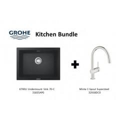 Grohe Composite Granite Sink K700U Undermount 70-C With Minta C-Spout Supersteel Kitchen Sink Mixer Tap