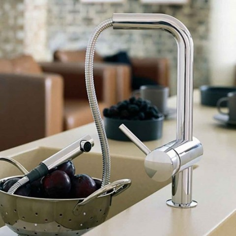 Grohe Minta L Spout Single Lever Pull Out Kitchen Sink Mixer Tap