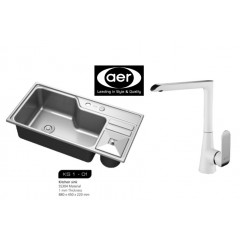 AER Stainless Steel Kitchen Sink Bundle With Sink Mixer Tap