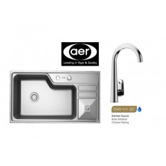 AER Stainless Steel Sink Bundle With Sink Cold Tap