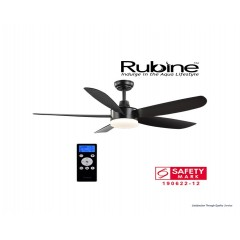 "Rubine 52"" Ceiling Fan With 24 Watt Led And Remote Control In Matt Black"