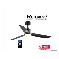 "Rubine Bell 44"" Ceiling Fan With 24W Led And Remote In Black"