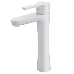 Rubine Tall Basin Mixer Tap In Epoxy White Unico Series