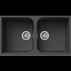 Rubine Double Bowl Top Mount Granite Kitchen Sink In Pearl Black