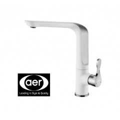 AER Kitchen Sink Mixer Tap White With Chrome Platted